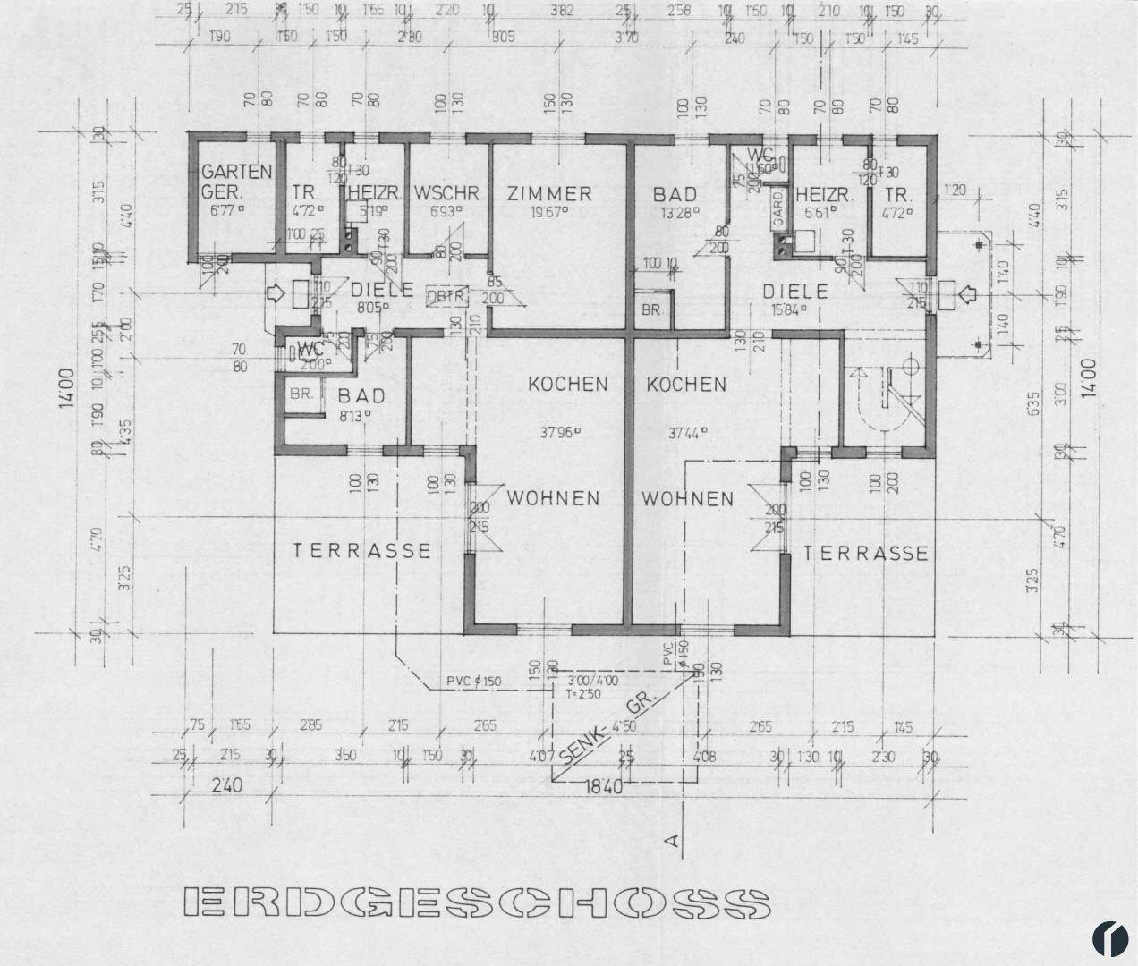 Gesamtübersicht Doppelhaus: Erdgeschoss