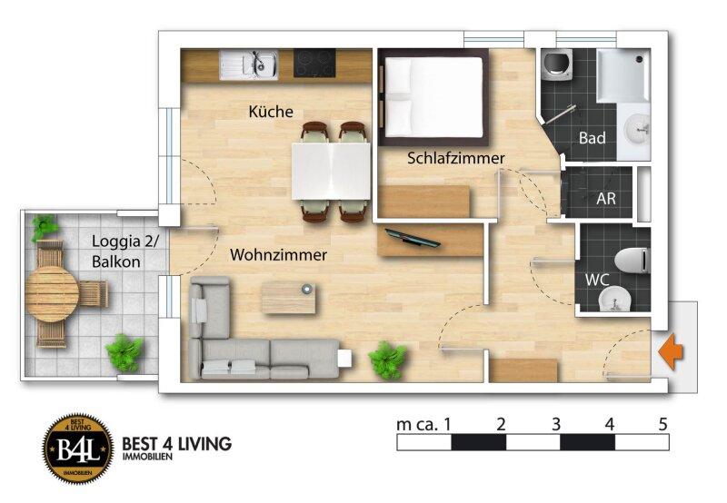 Ruhige Single oder Pärchenwohnung mit West-Balkon