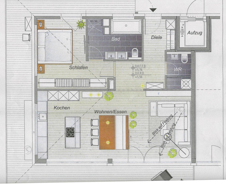 Grundriss, 2-Zimmer Penthousewohnung Kufstein