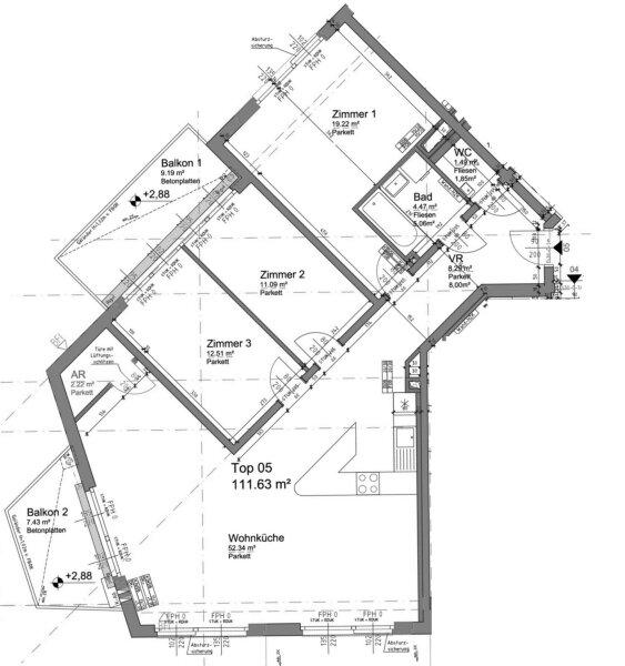 2 BALKONE, 52m²-Wohnküche + 3 Zimmer, NEUBAUERSTBEZUG, Obersteinergasse 19 /  / 1190Wien / Bild 3