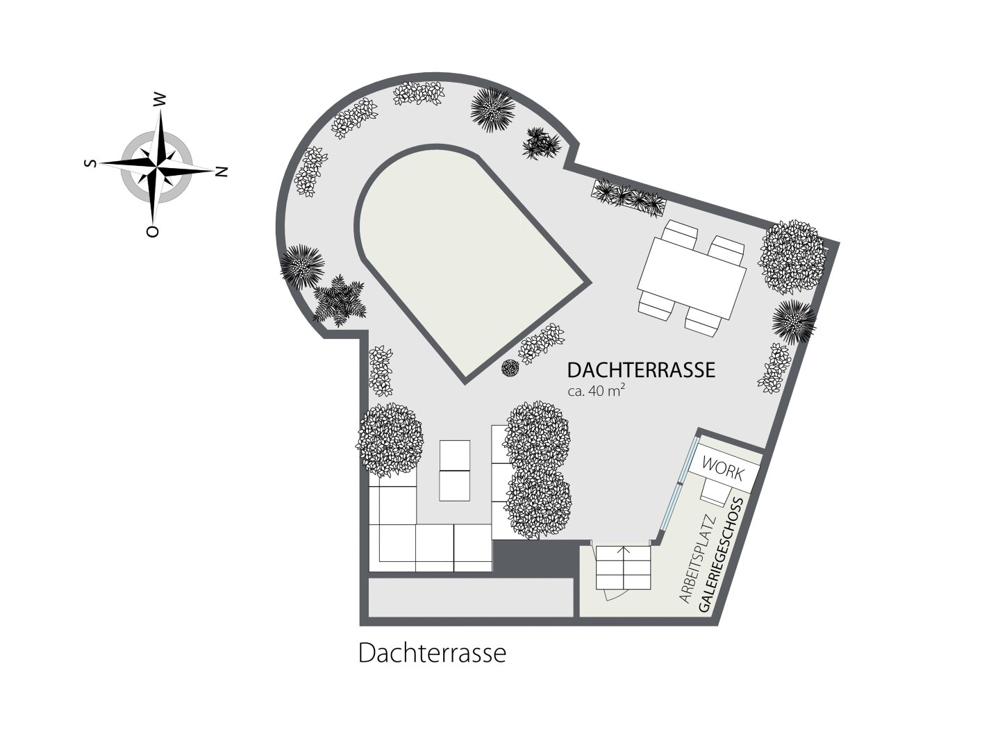 Grundriss 2D Dachterrasse
