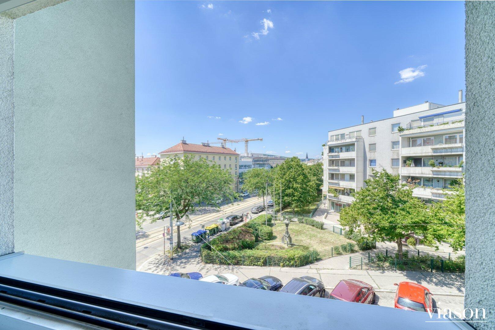 Blick aus dem Fenster Richtung Moßbachergasse