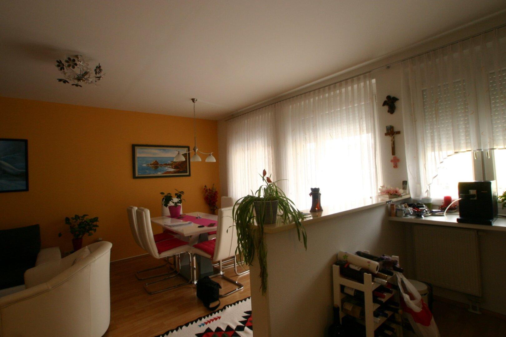 Wohnzimmer mit Einbau Küche