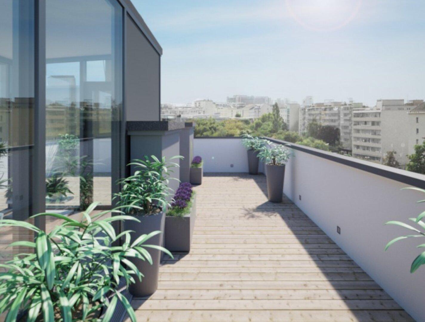 Visualisierung vor Errichtung - Wintergarten und Dachterrasse