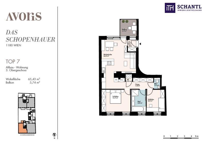 """""""Das Schopenhauer"""" - Ihre Wohnungssuche endet HIER! Wunderschönes und voll saniertes Altbauhaus + Hofseitiger Balkon + Ruhelage + Hochwertige Sanierung! /  / 1180Wien / Bild 7"""