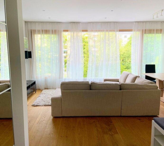 Vollmöblierte moderne Balkonwohnung mit Grünblick