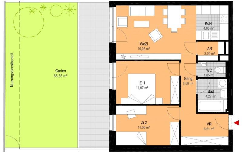 Schöne Eigentumswohnungen im Zentrum von Strasshof - Top 1 /  / 2231Strasshof an der Nordbahn / Bild 6
