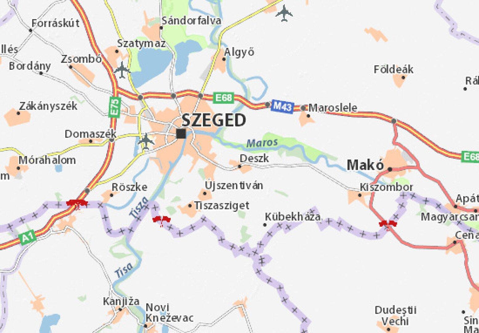 Deszk gut ersichtlich zw. Szeged und Mako