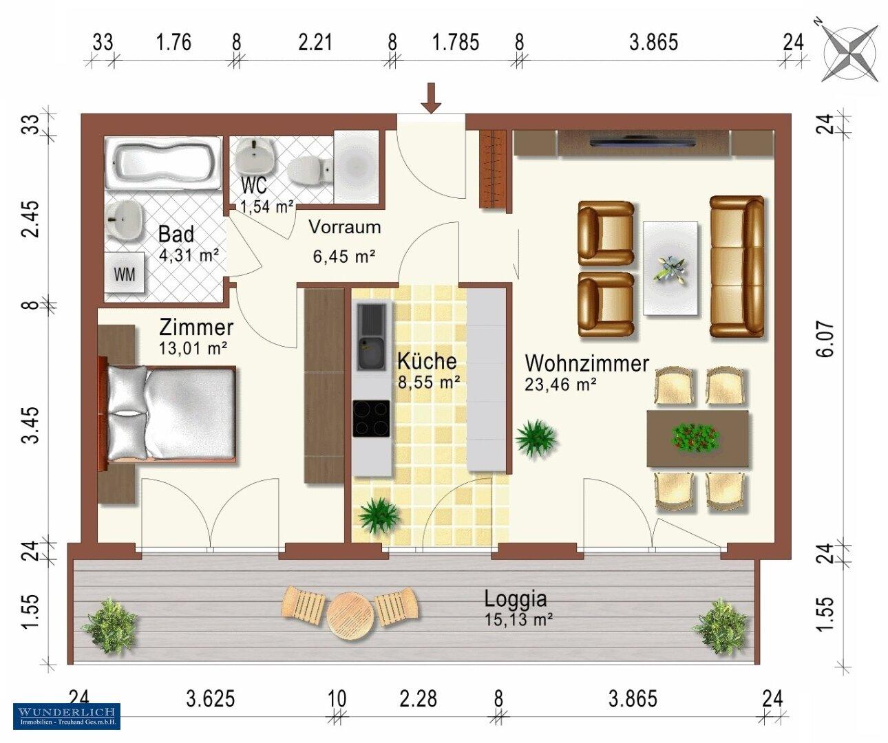 Wohnungsplan - Plan von uns erstellt (Planfehler vorbehalten)