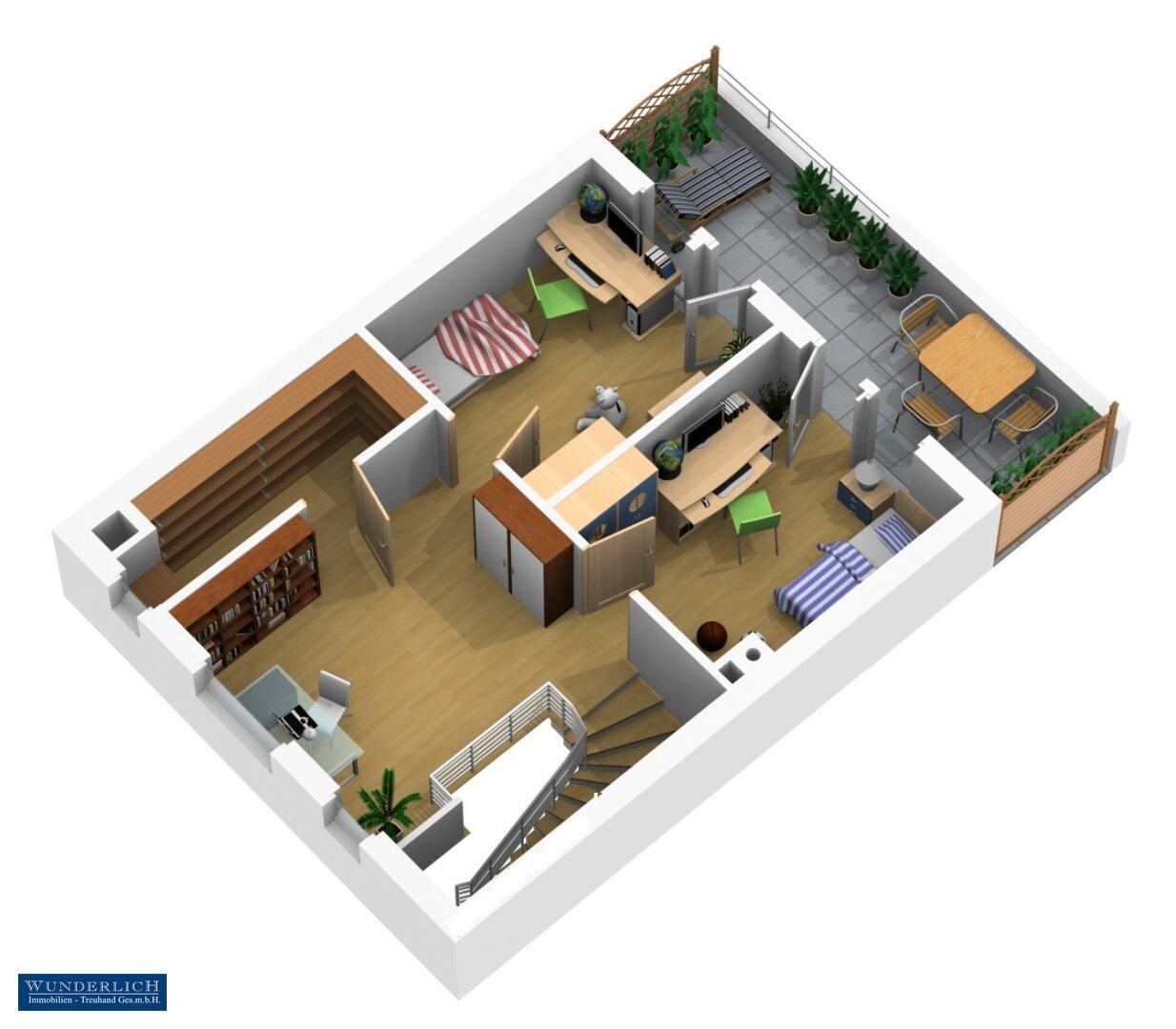 3D Visualisierung 2 - Dachgeschoß
