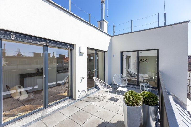 Neubau/Erstbezug: vier Zimmer Neubau- Penthouse mit zwei großen Terrassen in 1070 Wien, Lindengasse 60 - PROVISIONSFREI direkt vom Bauträger!