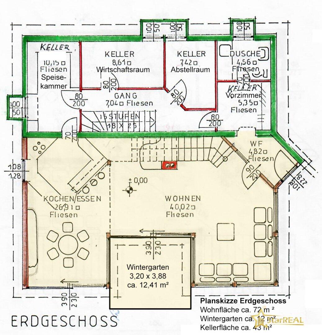 Planskizze Erdgeschoss