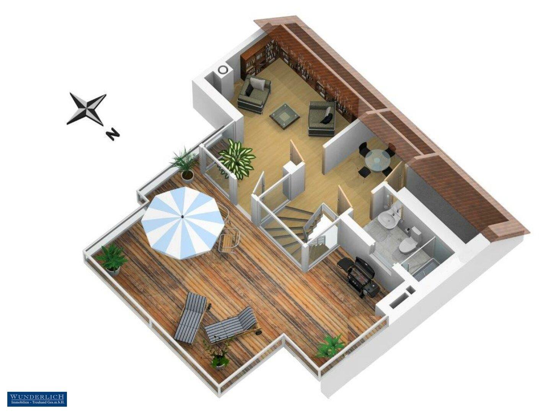 3D-Ansicht 2 Terrassengeschoss