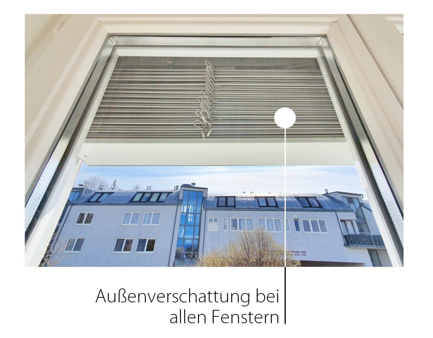 Außenbschattung bei allen Fenstern