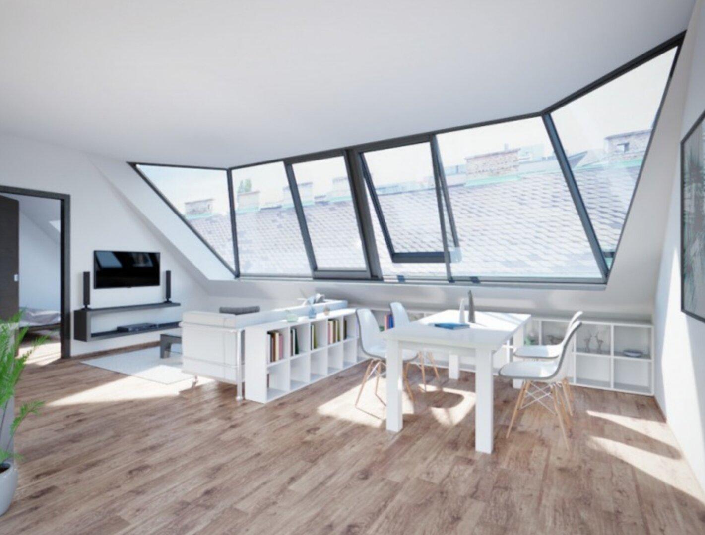 Visualisierung vor Errichtung - Wohnküche mit Gaupe