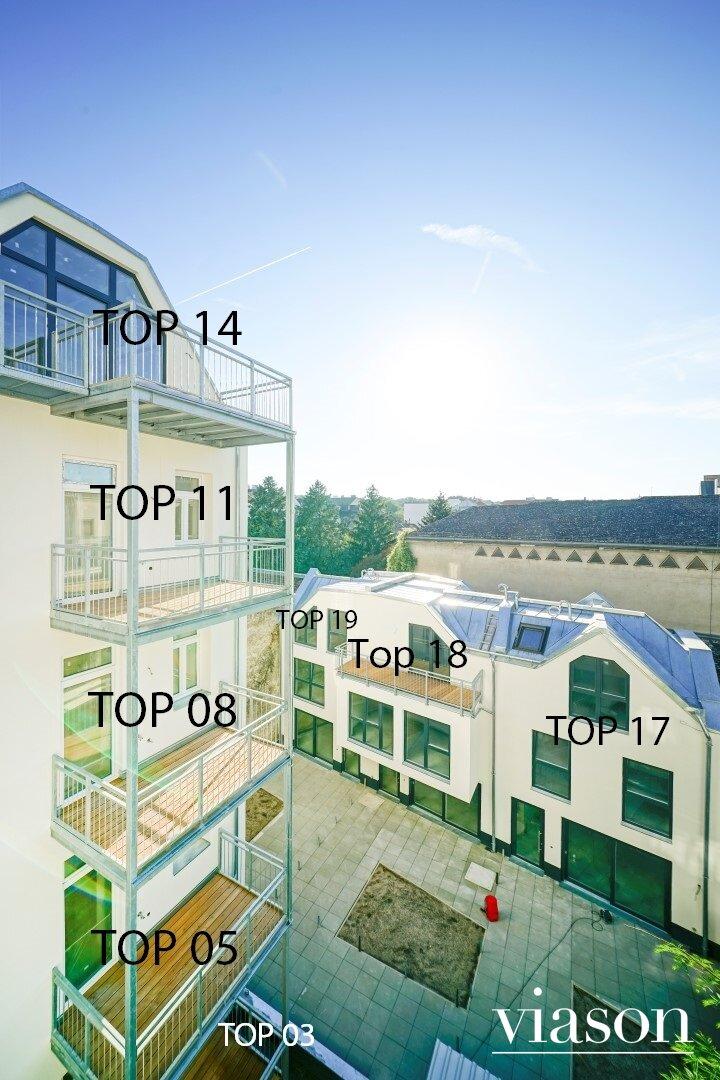 Hofansicht Balkone
