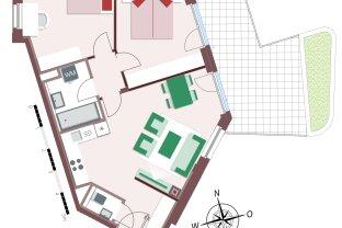 8213 – durchdachte 3-Zimmer- mit ungewohnlich großer Terrasse