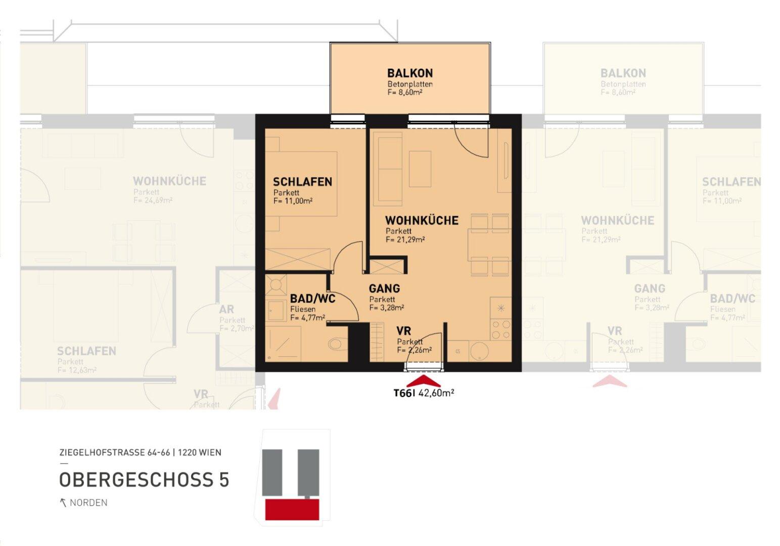 Grundriss: Ziegelhofstraße 64-66