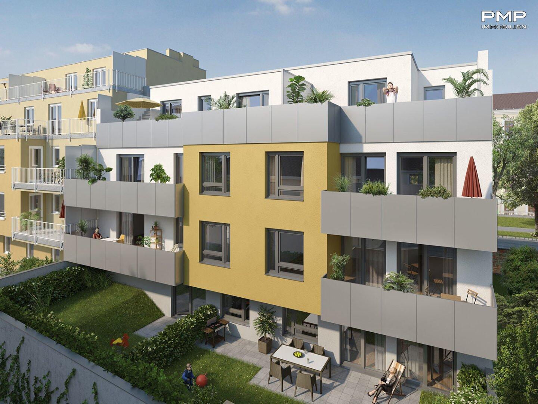 Bankmannring 2 - Gartenansicht (kann vom fertiggestellten Projekt abweichen) © Hannes Tallafuss