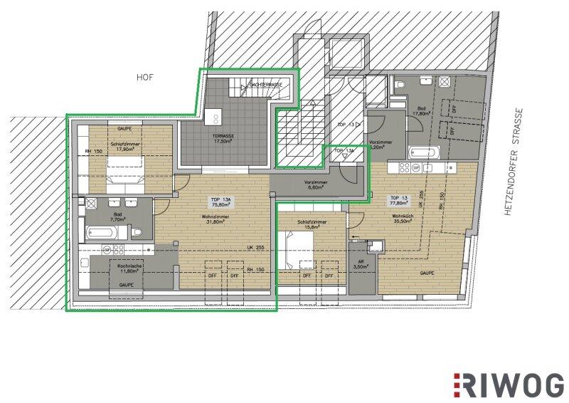 Im Herzen Hetzendorfs - Dachgeschoss-Wohnung mit zwei Terrassen und traumhaften Weitblick   inkl. Stellplatz /  / 1120Wien / Bild 8