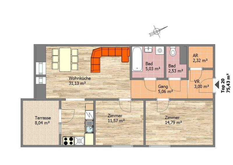 Provisionsfreier Erstbezug!  3 - Zimmer Wohnung mit Terrasse, 5 min. Fußweg zur Bahn!