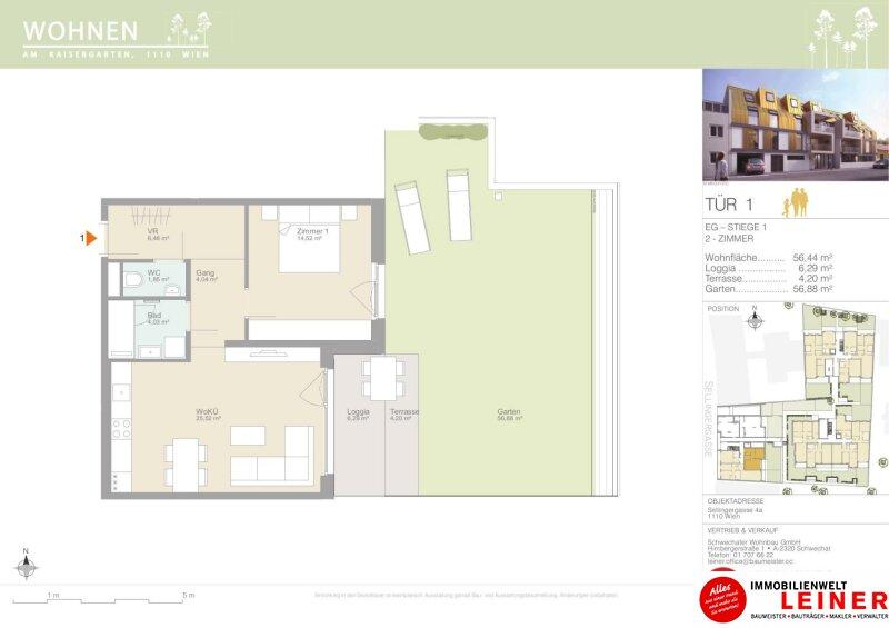 Leben wie in einem Bungalow mitten in der Stadt - Eigentumswohnung mit  56,88m² sonnigemGarten & Loggia - Provisionsfrei - 1110 Wien Objekt_15331 Bild_174