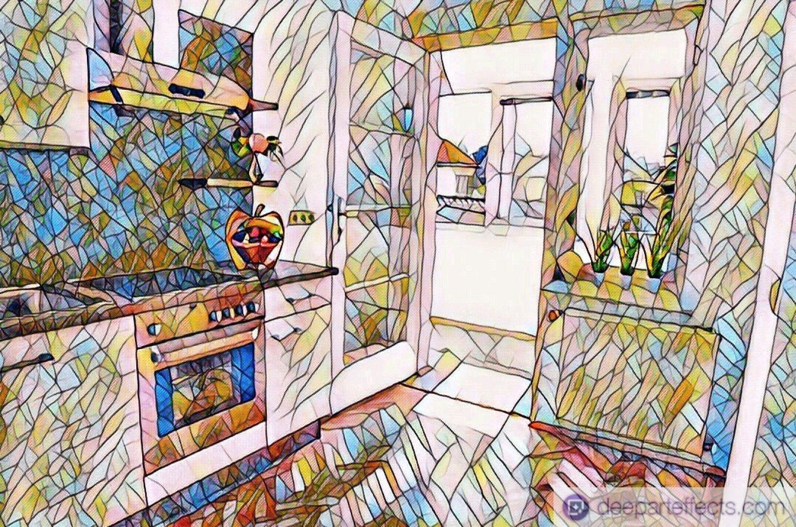 Küche mit Zugang zur Loggia