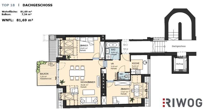 ++ EXKUSIV ++ 3-Zimmer DG-Wohnung mit 7 m² Balkon zum HAMMER-PREIS/Erstbezug /  / 1200Wien / Bild 0