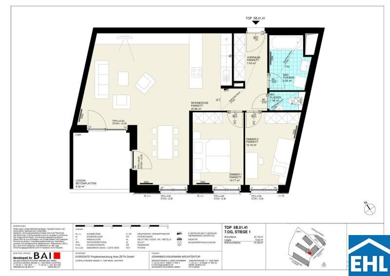 EUROGATE: Großzügige und gutaufgeteilte 3 Zimmerwohnung mit Loggia /  / 1030Wien / Bild 9