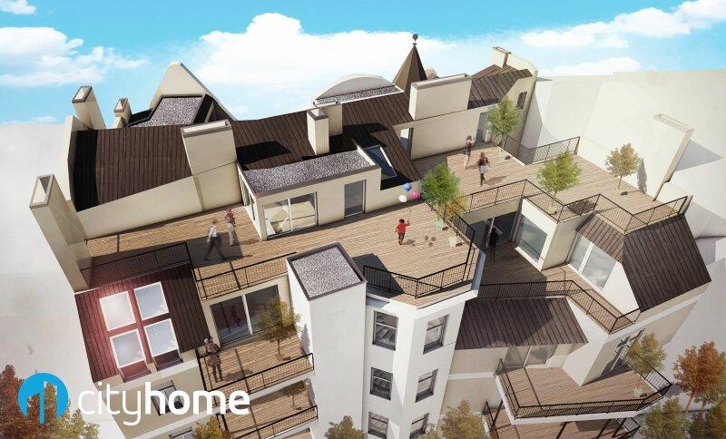 perfekt aufgeteilte 37m² - 16 m² Hofterrasse - Wohnküche - Schlafzimmer - THE RESIDENCE /  / 1140Wien / Bild 1