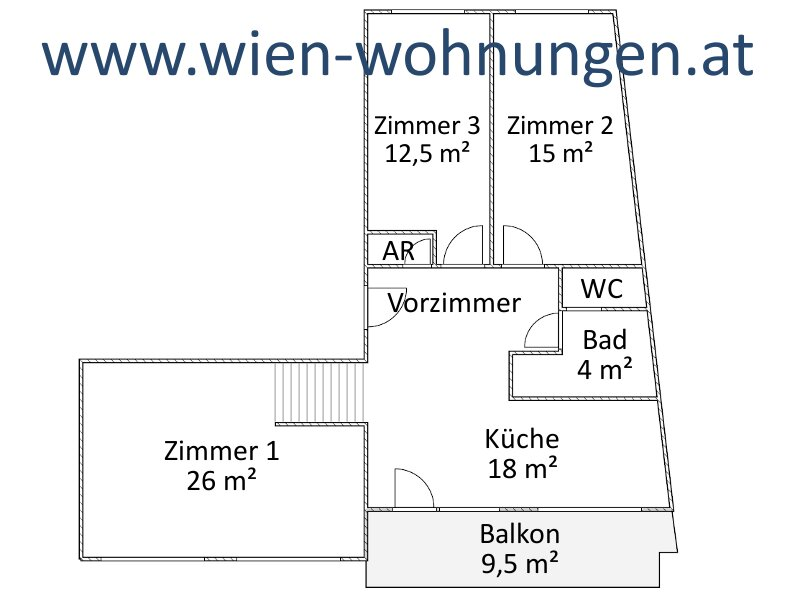 sehr helle Drei-Zimmer-Maisonette mit Balkon /  / 1030Wien / Bild 3