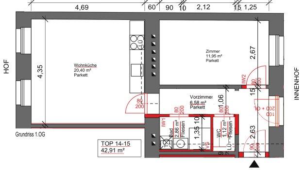 Foto von NEU! ++ 2 Zimmer-Altbauwohnung RENOVIERT und sehr ruhig gelegen (Top 14-15) ++