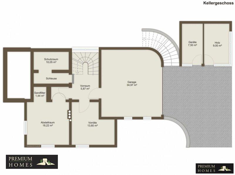 Breitenbach am Inn - Elegantes Landhaus - Grundriss Untergeschoss unmöbliert