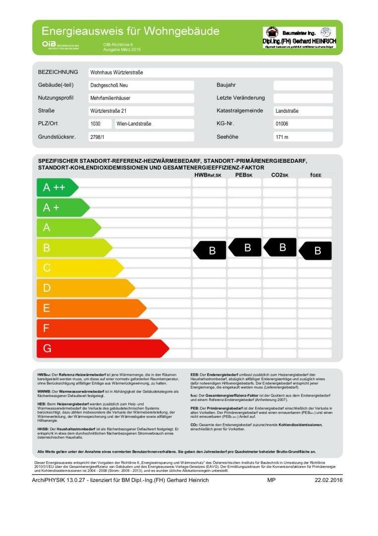 Energieausweis Dachgeschoß