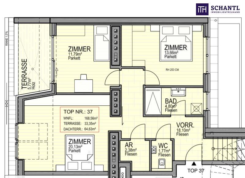 DAS IST EINZIGARTIG! Fünf-Zimmer-Erstbezug auf zwei Etagen, plus über 64m² Panorama-Dachterrasse! /  / 1170Wien / Bild 1