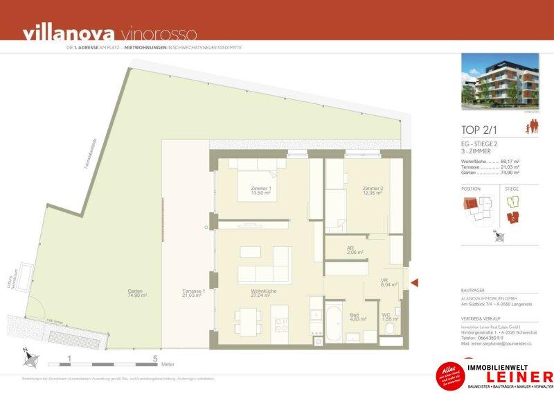 *UNBEFRISTET* *BARRIEREFREI* Schwechat - 3 Zimmer Mietwohnung mit 75 m² großem Garten und 21 m² großerTerrasse Objekt_8830 Bild_675