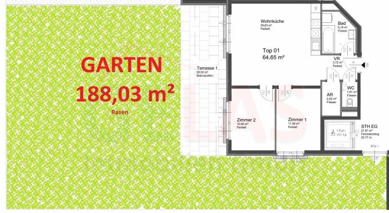 188 m² GRÜNGARTEN! Offene Wohnküche + 2 Zimmer, Bj.2017, Obersteinergasse 19 /  / 1190Wien / Bild 3