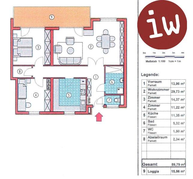 3-Zimmerwohnung mit Süd-Westterrasse in Top Zentrumslage Objekt_554 Bild_217