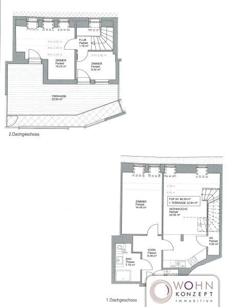 Erstbezug: 80m² Dachmaisonette + 23m² Terrasse mit Einbauküche - 1090 Wien /  / 1090Wien / Bild 1