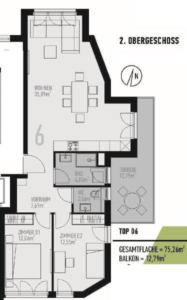 Provisionsfrei! Erstbezug, Helle 3 Zimmer Neubauwohnung mit 13 m² Süd-Ost Balkon in Grünruhelage /  / 1130Wien / Bild 3