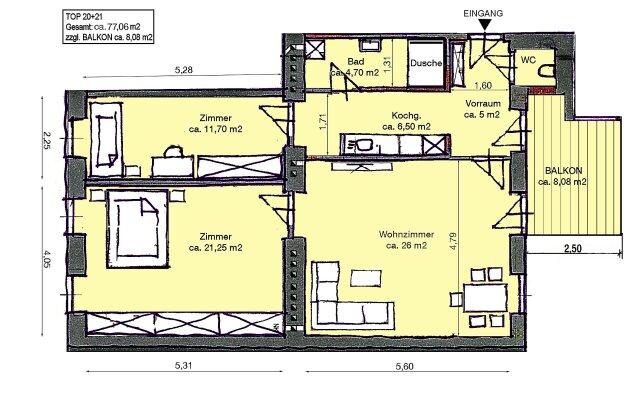 Foto von NEU! ++ ERSTBEZUG nach Sanierung + 4. Liftstock, 3 Zimmer Altbau-Wohnung mit BALKON in 1050 Wien ++