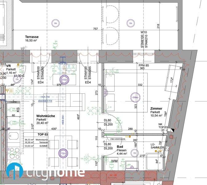 perfekt aufgeteilte 37m² - 16 m² Hofterrasse - Wohnküche - Schlafzimmer - THE RESIDENCE /  / 1140Wien / Bild 5