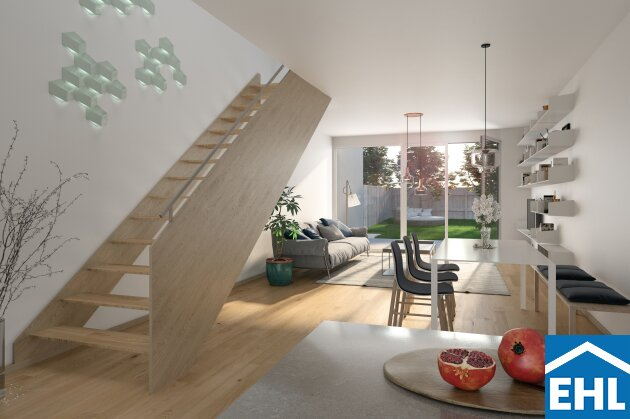 Breitenleer Gärten: Reihenhaus mit 4 Zimmern, Terrasse, kleinen Gartenanteil und Dachterrasse