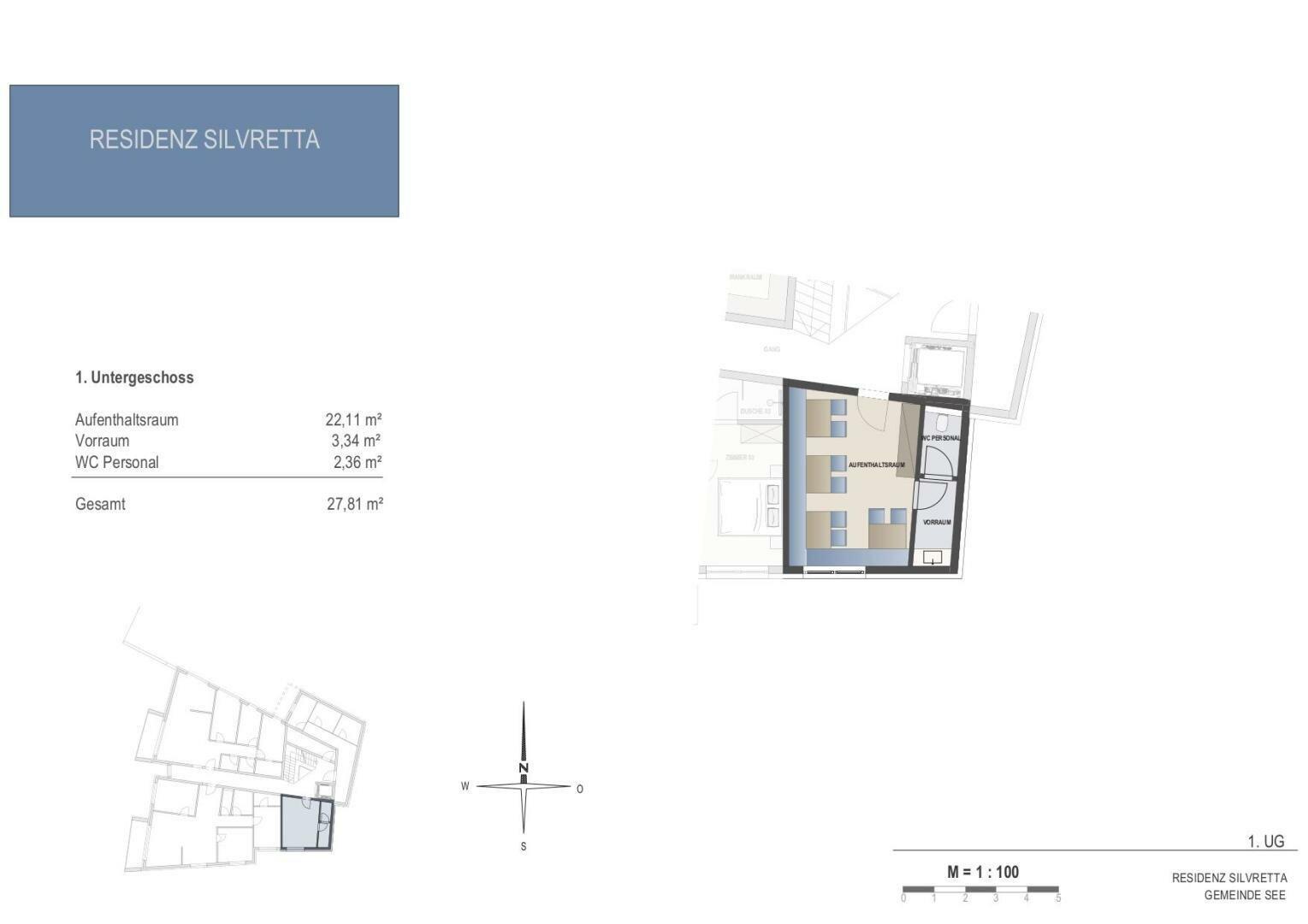 Grundrissplan 1. UG Allgemeinräume