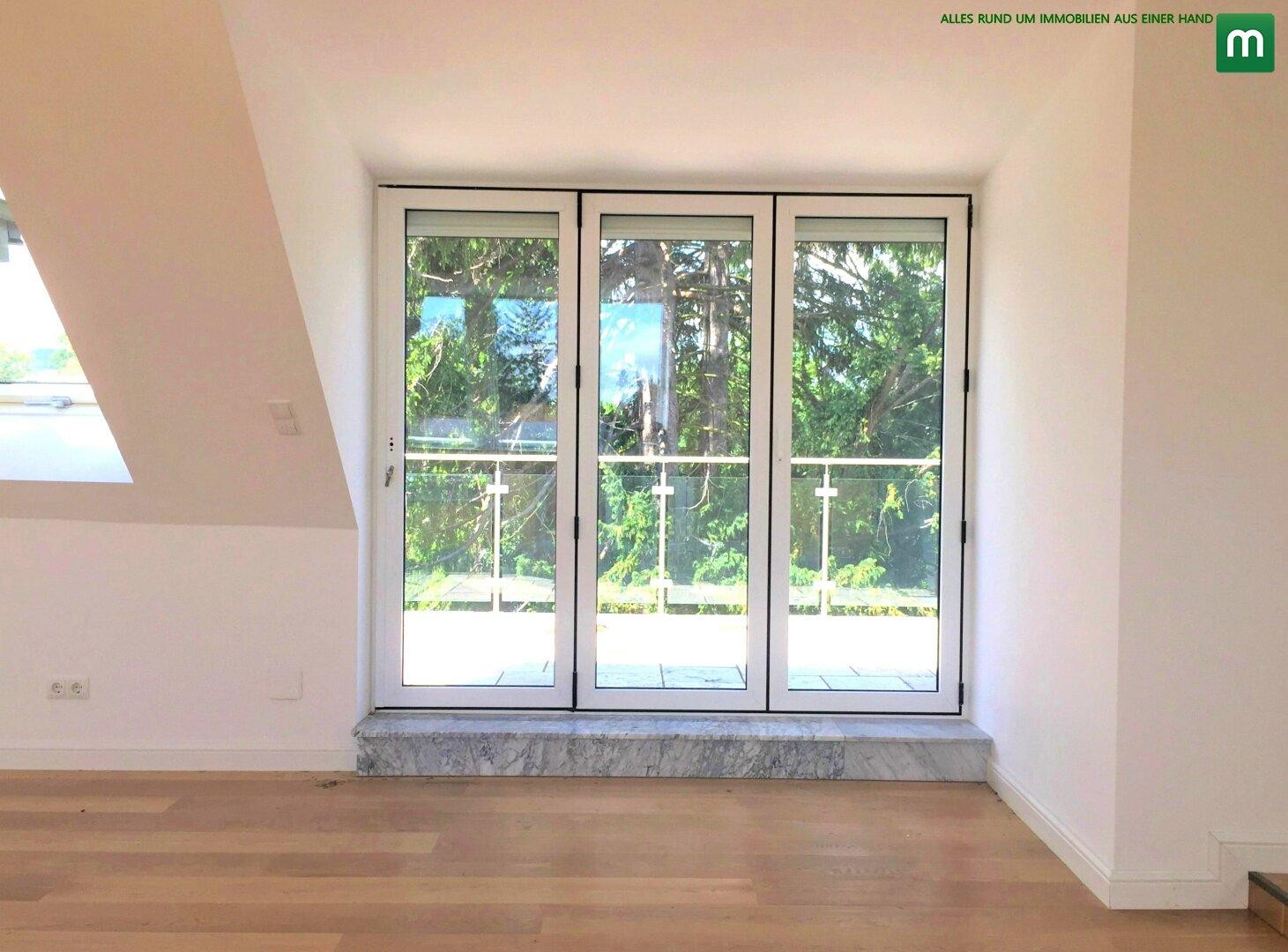 Ausgang vom Salon zur 16 m2 grossen Terrasse