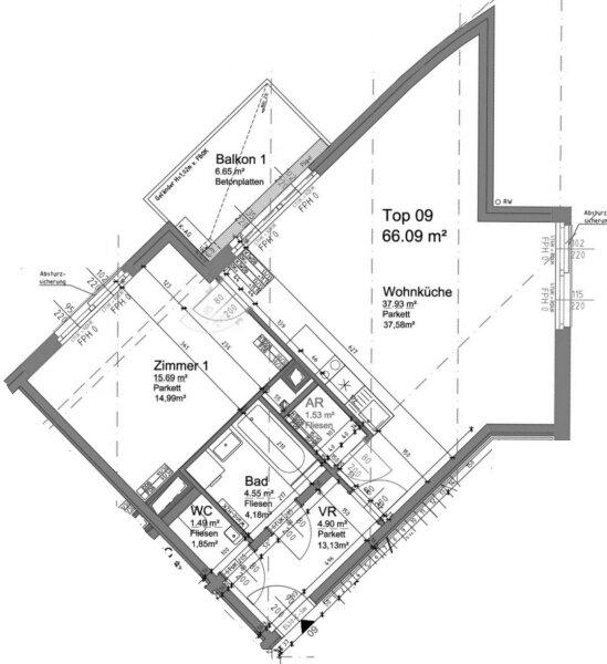 6,65 m² BALKON + 2 französ. Balkone, 38m²-Wohnküche + Schlafimmer, 2. Stock, Bj.2017 /  / 1190Wien / Bild 19