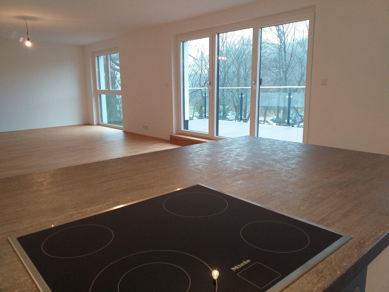 Küche mit Blick in den Wohnraum
