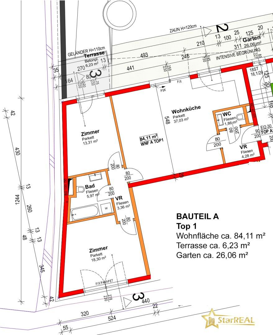BAUTEIL A/TOP 1 - Grundriss