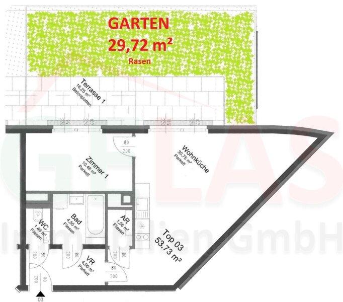 30m² GRÜNGARTEN, 30m²-Wohnküche + Schlafzimmer, Bj.2017, Obersteinergasse 19 /  / 1190Wien / Bild 2
