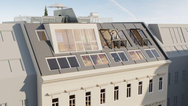 Foto von ++NEU++ DG-Ausbau 3-Zimmer Dachgeschosswohnung neben dem AKH mit Balkon!!